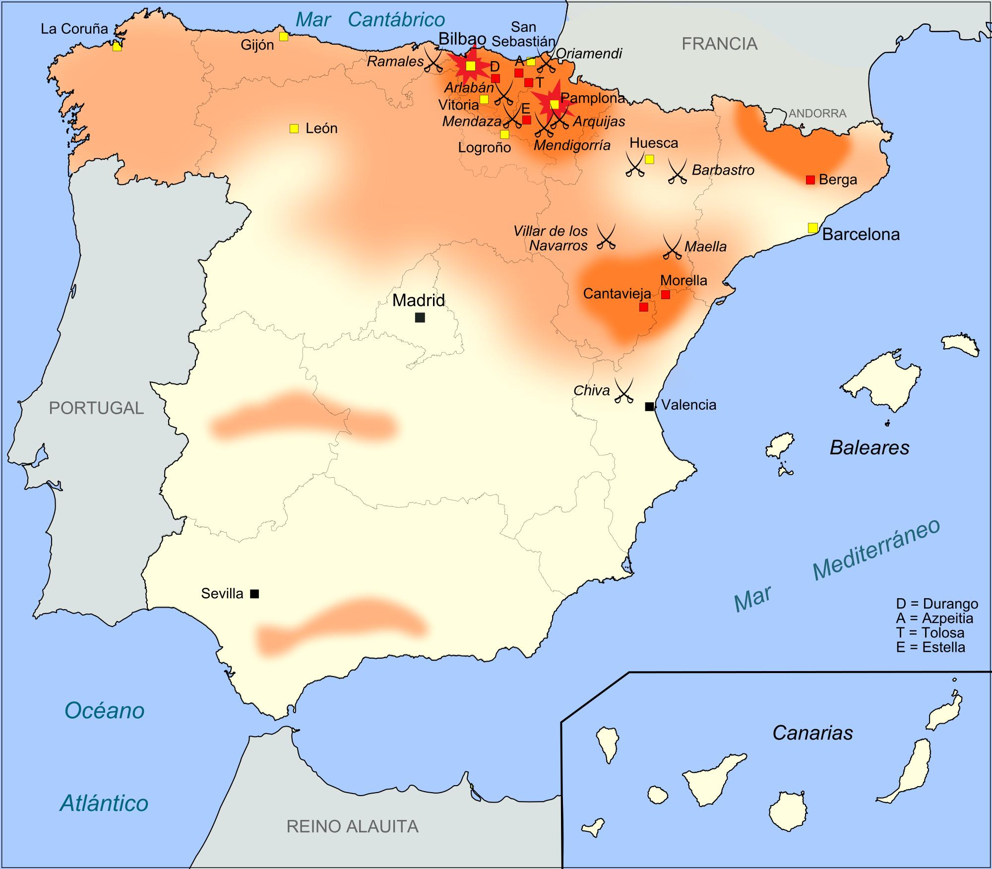 mapa guera carlista