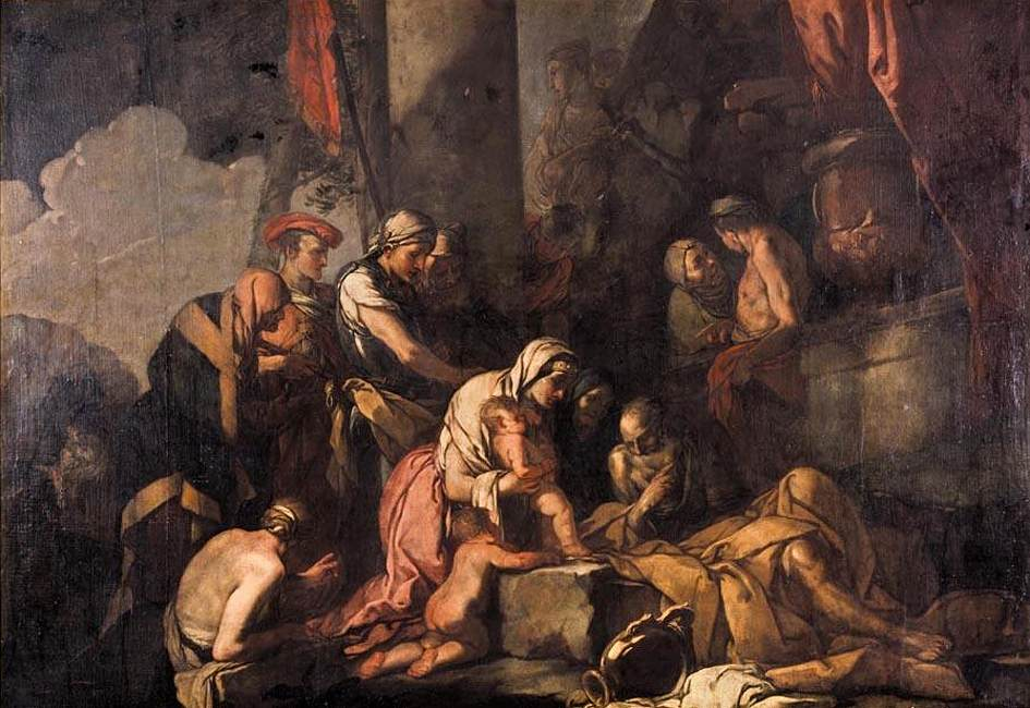 narciso-Carpioni,_Giulio_-_Liriope_Bringing_Narcissus_before_Tiresias_-_1660s