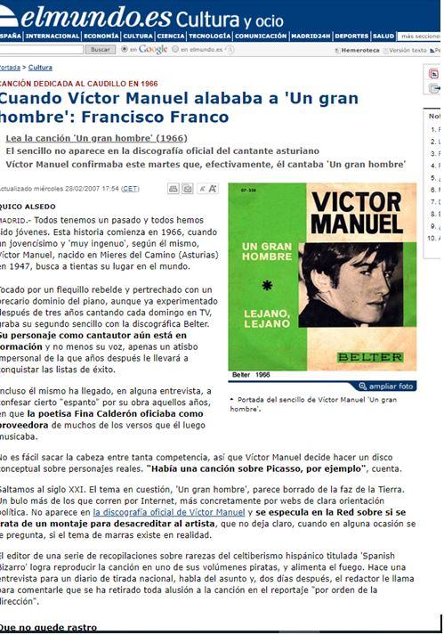 pantallazo noticia El Mundo sobre cancion Victor Manuel a Franco